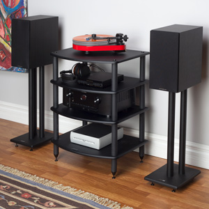 and Components Cabinet Pangea Audio Vulcan Four or Five Shelf Audio Rack Media Stand Black 5 Shelf