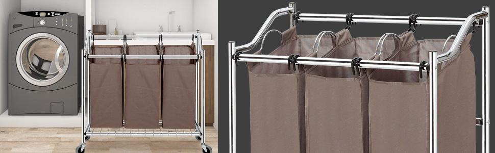 laundry sorter cart, laundry hamper 3 section
