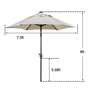 7.5 ft, 7.5 feet, 7.5' patio umbrella