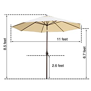 11 ft, 11 feet, 11' patio umbrella