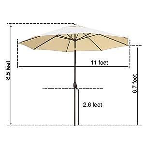 11 ft, 11 feet, 11' patio umbrella