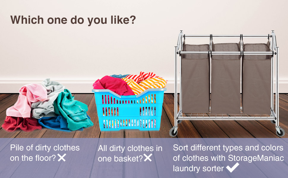 Amazon.com: STORAGE MANIAC 3-Section Heavy Duty Laundry