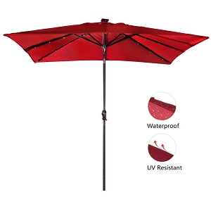 ... EU Standard Grade 4 Min. At 1000 Hours. Available In Colors: Dark Red,  Brown Whatu0027s Included: 7 By 9ft Patio Umbrella With Solar Powered LED ...