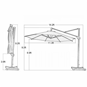 umbrella type octagon cantilever umbrella with cross base u0026 storage cover canopy diameter 11 feet shade about 95 square feet of shade