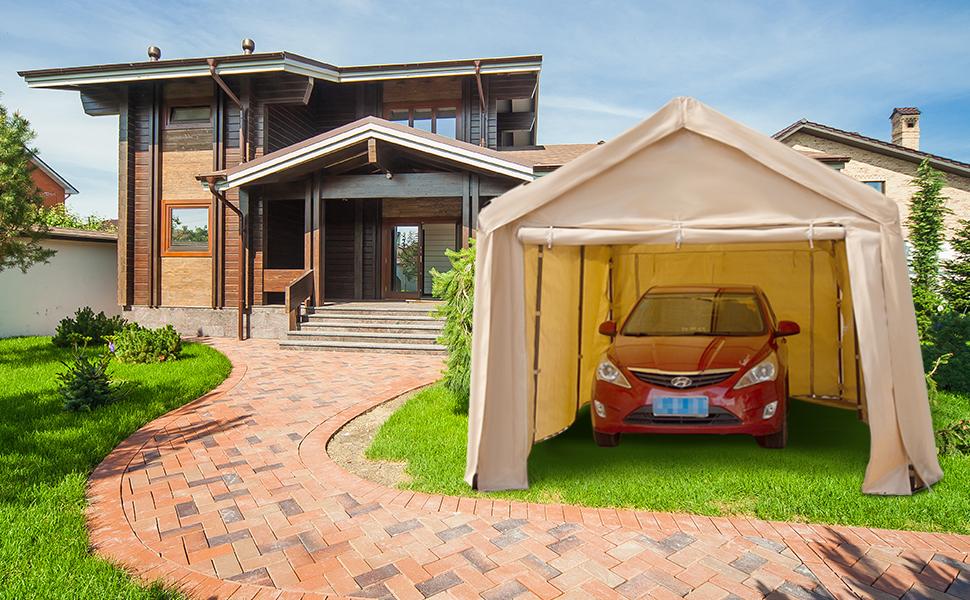 Amazon.com: Abba Patio 10 x 20 ft Heavy Duty Beige Carport ...