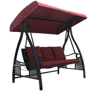 With a sturdy steel powder-coated frame this swing brings a blend of functionality and beauty to your patio or deck. The canopy has an adjustable-tilt ...  sc 1 st  Amazon.com & Amazon.com : Abba Patio 3 Person Outdoor Metal Gazebo Padded Porch ...