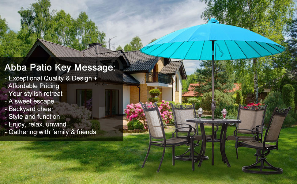 Exceptionnel 8.5 Feet Chinese Element Patio Umbrella With Push Button Tilt And Crank, 24  Steel Wire Ribs