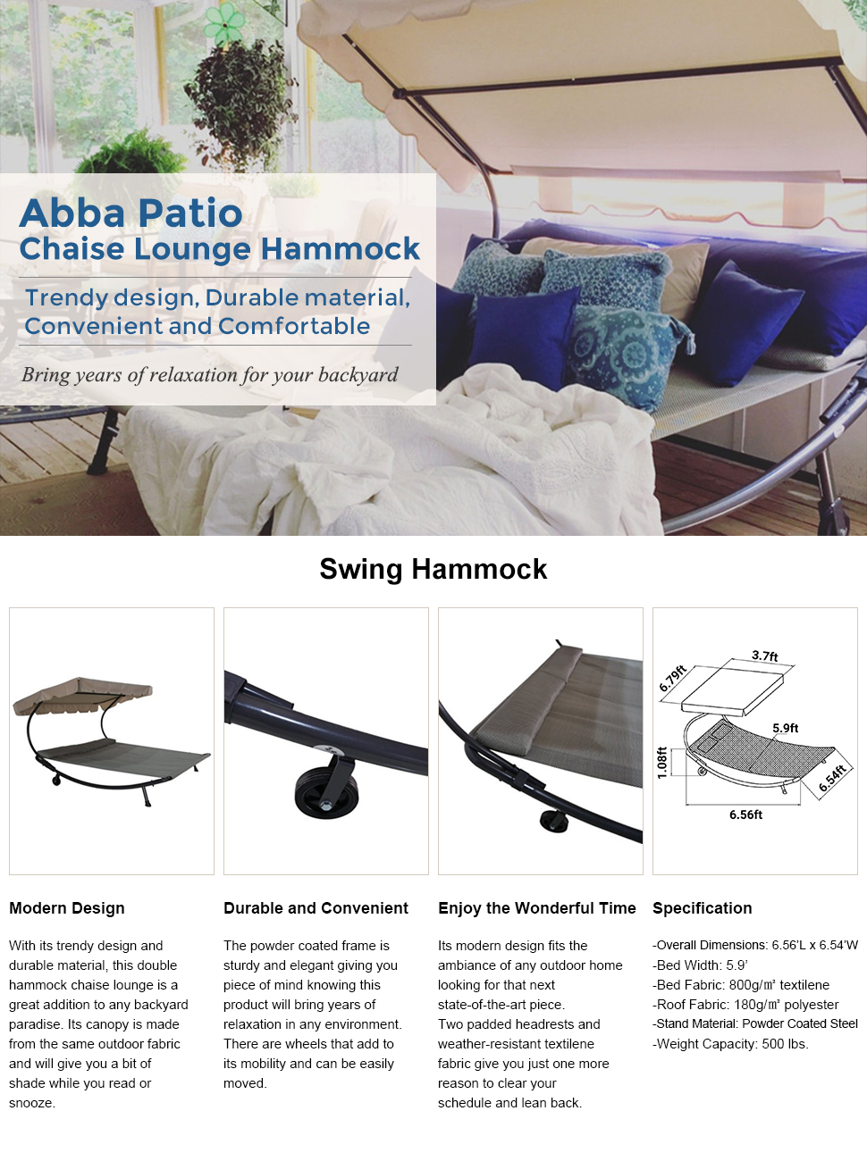 amazon com  abba patio outdoor portable double chaise lounge hammock bed with sun shade and