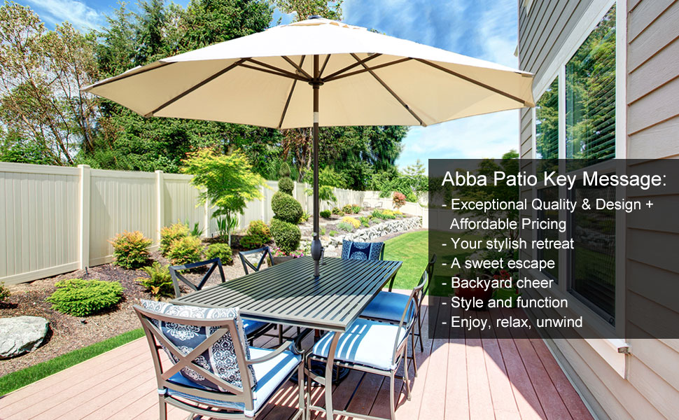 Wonderful 11 Feet Patio Umbrella With Crank And Push Button Tilt