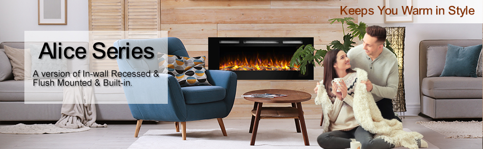 PuraFlame Alice 40 Inches Recessed Electric Fireplace, Wall Mounted for 2 X  6 Stud, Log Set & Crystal, 1500W Heater, Black