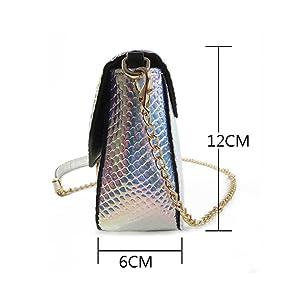 6f994014a745 Remeehi Hologram Snake Skin Leather Shoulder Bag Crossbody Bag with ...