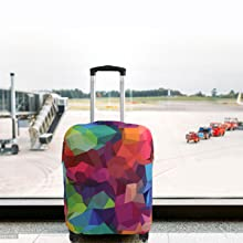 Geometric Crystal Elastic Travel Luggage Cover,Double Print Fashion Washable Suitcase Protector Cover Fits 18-32inch Luggage