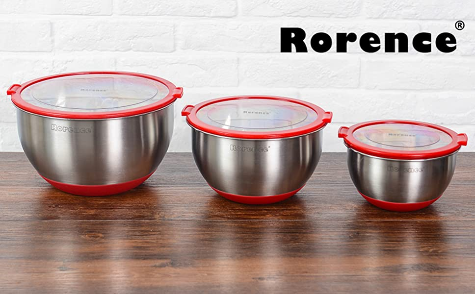 rorence stainless steel non slip mixing bowls set of 3 with transparent lids red. Black Bedroom Furniture Sets. Home Design Ideas
