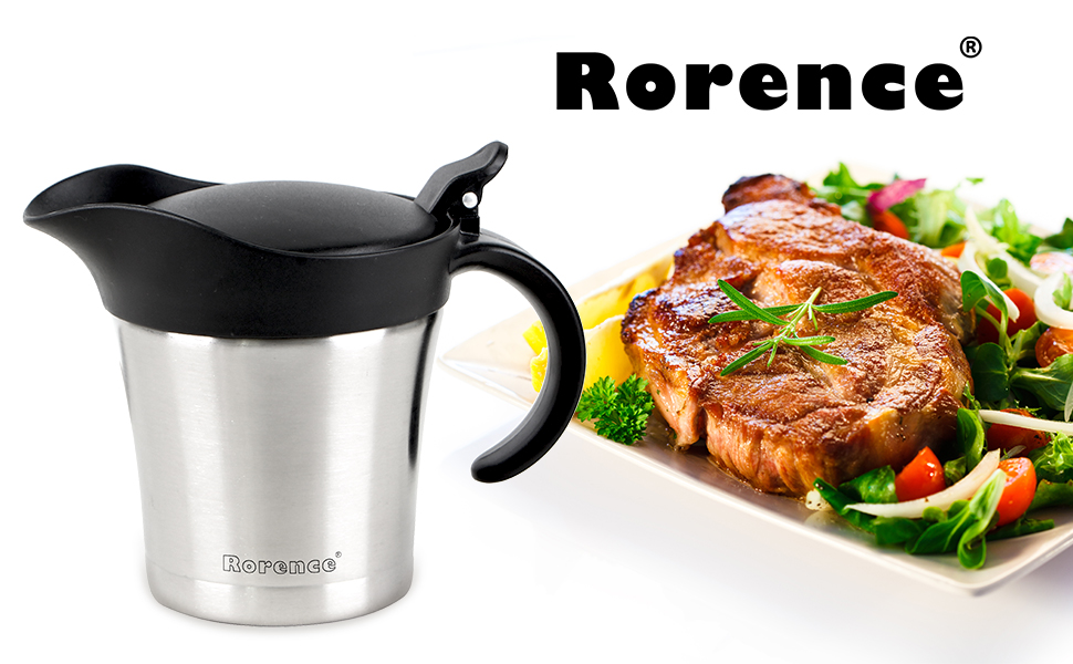 Rorence Stainless Steel Double Insulated Gravy Boat/Sauce Jug 16 Ounce Capacity