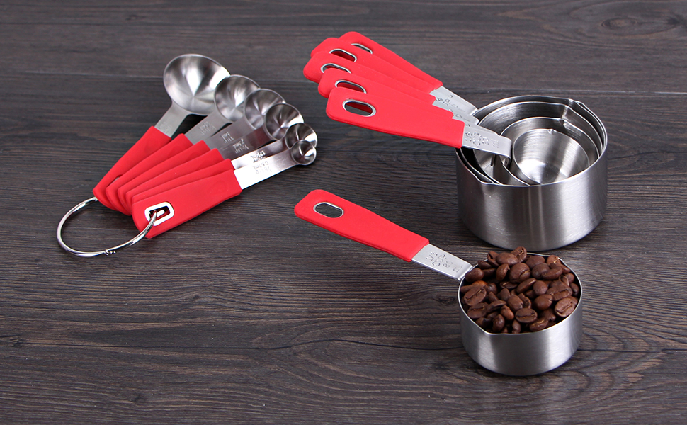 Rorence 18 8 Stainless Steel Measuring Cups And Spoons Set With Long Silicone Handle Of 12