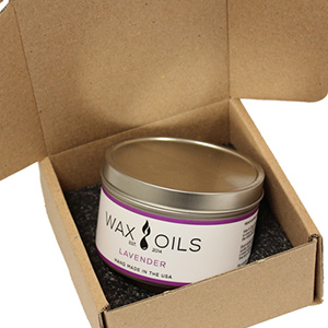 lavender candle from wax and oils in a box