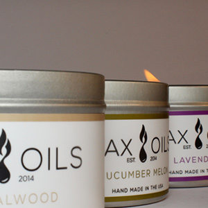 wax and oils 3 pack of candles lit