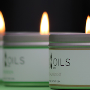 wax and oils 3 pack of candles with flame