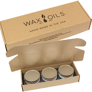 wax and oils 3 pack of candles in custom box