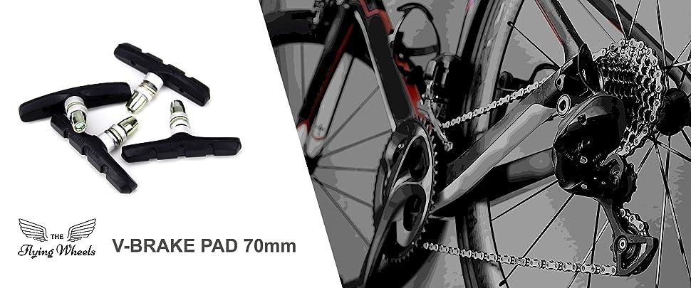 70mm Pack of 2 The Flying Wheels Complete Bike Brake Pad Set 4 Sets