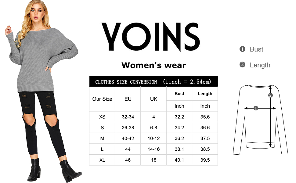734c6b7d7666 YOINS Women s Off Shoulder Batwing Sleeve Loose Fit Pullover Sweater  Knitted Jumper