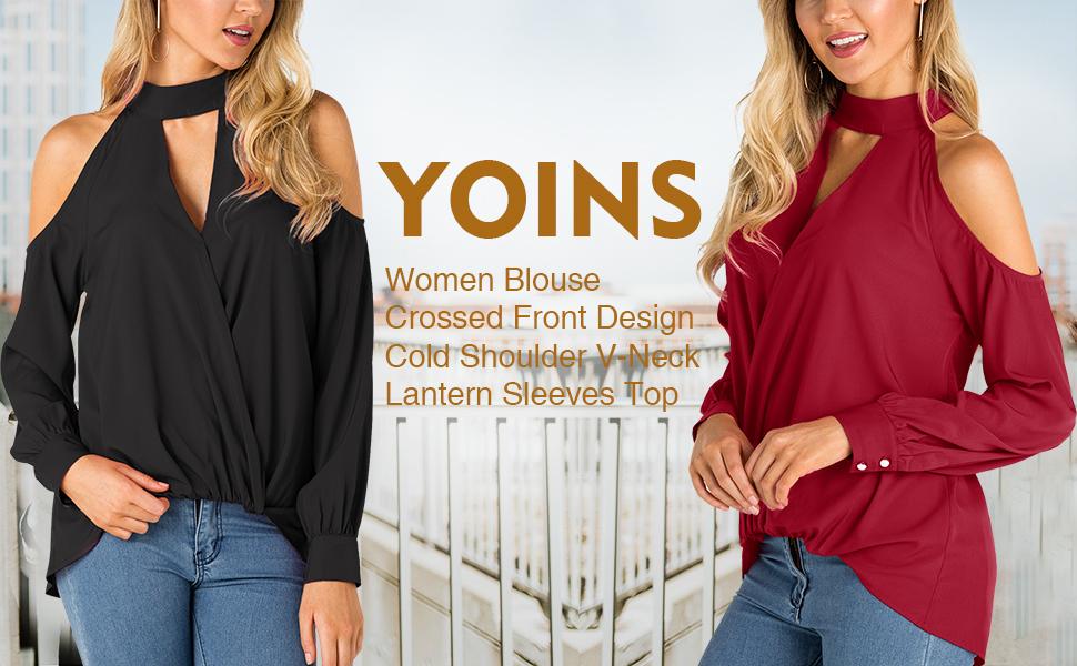 7da2a76c77ad17 YOINS Women s Crossed Front Design Cold Shoulder V-neck Lantern Sleeves Top