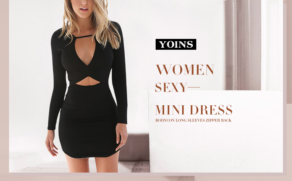 c3fb923e0f YOINS Women Mini Dress Sexy Bodycon Long Sleeves Zipper Back Party ...