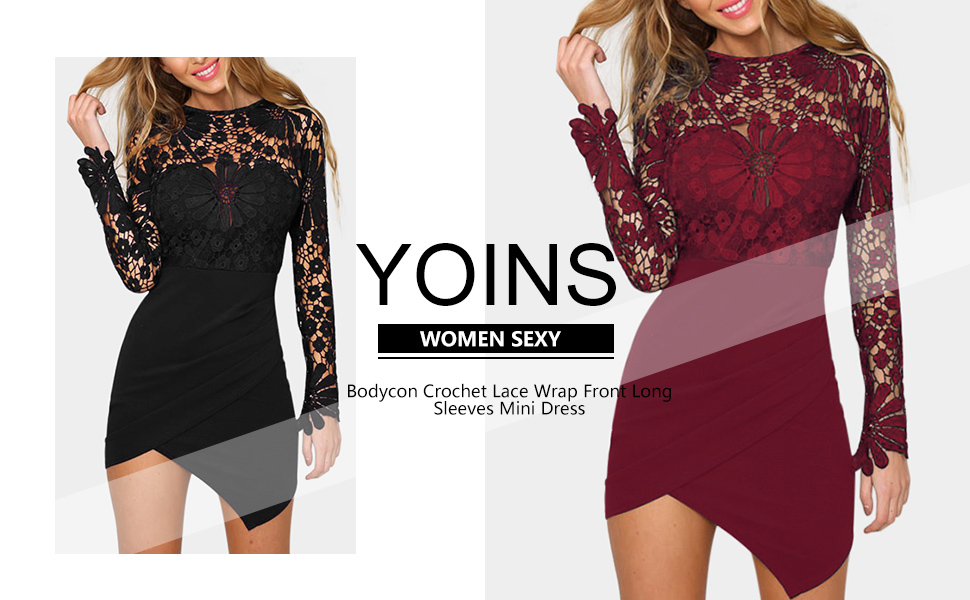 14242279d201 Amazon.com: YOINS Women Dress Sexy Bodycon Crochet Lace Wrap Front ...