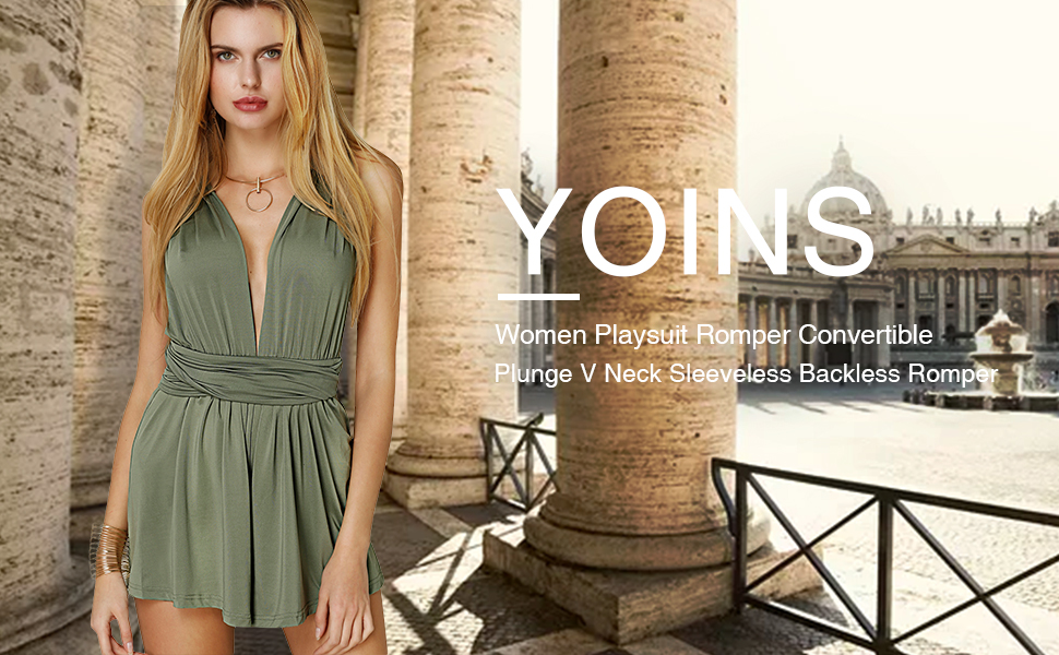 644d9f943e8f YOINS Women Playsuit Romper Convertible Plunge Neck Sleeveless Backless  Romper