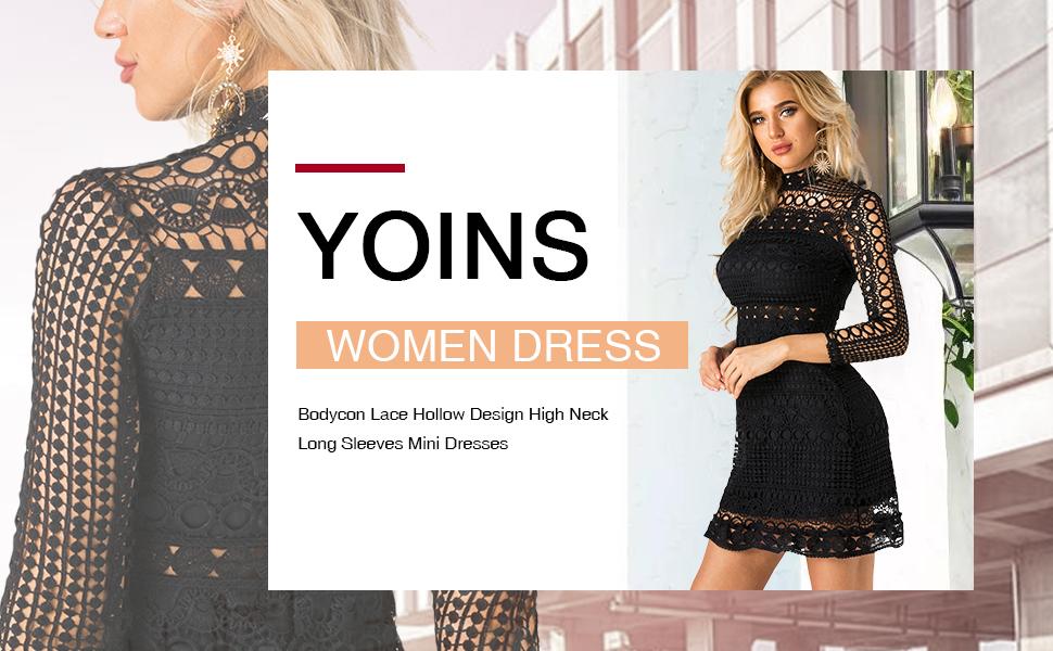 021e7aa460c YOINS Women Dress Bodycon Lace Hollow Design High Neck Long Sleeves Mini  Dresses
