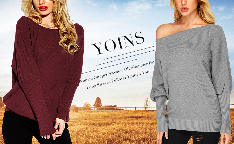 6adc7761d035 YOINS Sweater for Women Off Shoulder Bat Long Sleeves Pullover Jumper  Knitted Top