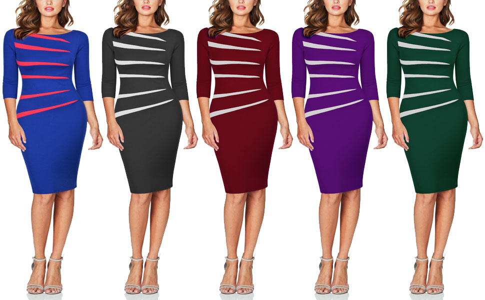 Fortric Women Slim Stitching Bodycon Business Wear To Work Party Pencil Dress At Amazon Women S Clothing Store