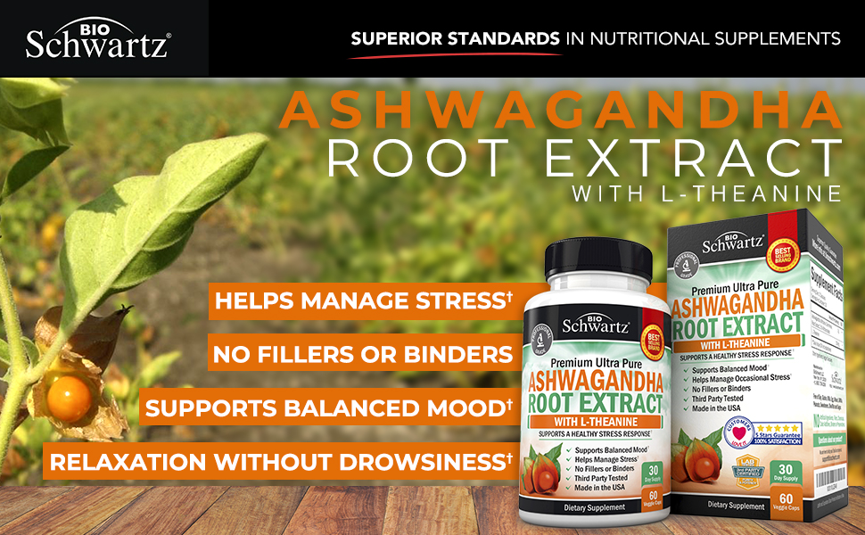 Ashwagandha Root Extract Caps with L-Theanine for Stress & Anxiety Relief-  Healthy Mood Stabilizer &