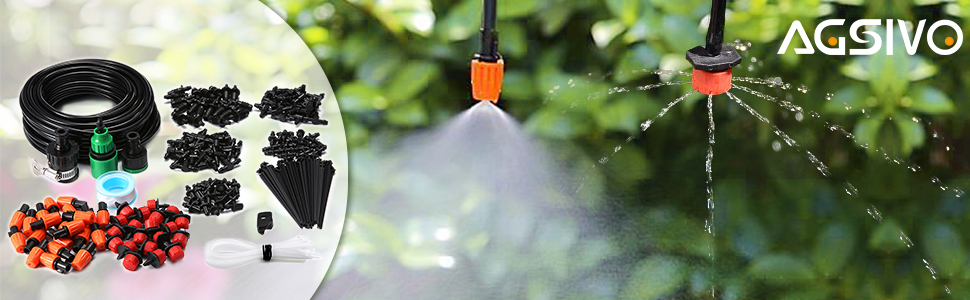 AGSIVO Irrigation Watering System Drip Kits Included 50 Feet Tubing Connectors Hole Puncher Atomizing Nozzle Mister Dripper and All Accessories for Plant Watering KINGSOokiuhg4428