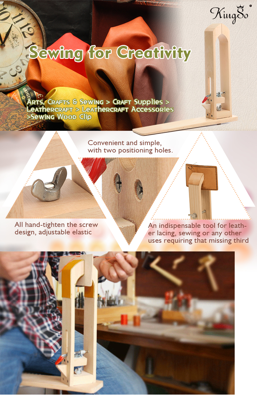 KINGSO Wood Leathercraft Hand Stitching Sewing Leather Lacing Pony Horse Clamp Table DIY Desktop Tool Craft Sewing table