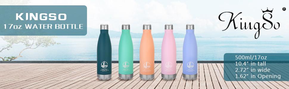 Amazon.com: KINGSO Macaron color botella de agua de acero ...