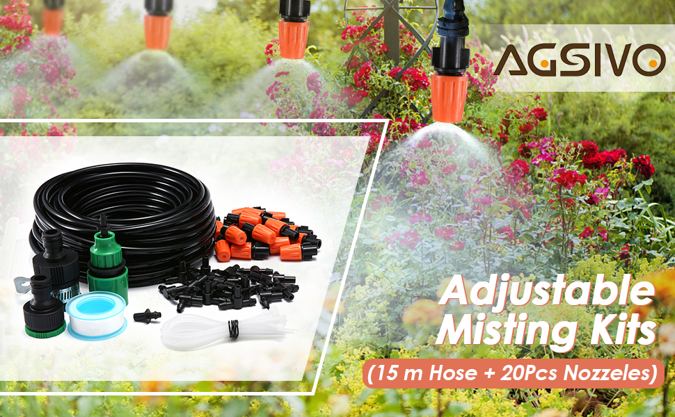 AGSIVO Patio Spray Misters Watering System Kits Accessories for Outdoor Garden Greenhouse Nozzles Misting Cooling with 49.2ft, 4//7 Blank Distribution Tubing Hose