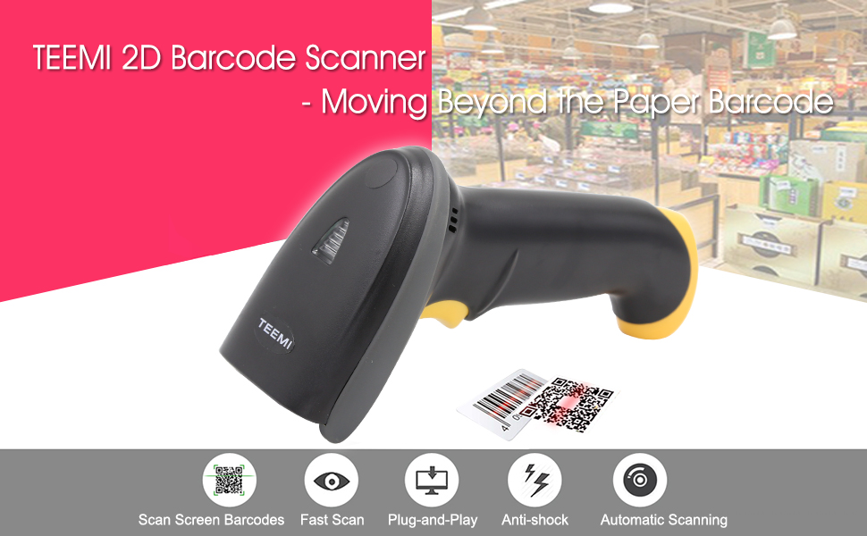 2D USB wired bar code reader area imager scan 1d 2d barcodes on paper and screen