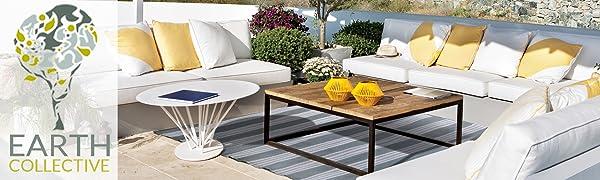 Garden Camping /& Beach GREY//CREAM 250x300cm Recycled Plastic Mat for Patio