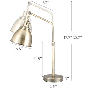 Vintage Desk Lamp with LED Bulb Office Industrial Table Lamp Metal Task Lamp with Adjustable Height