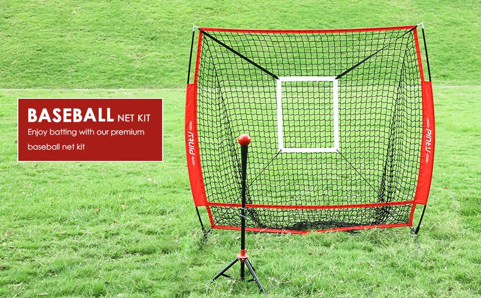 Pinty Baseball and Softball Practice Net 7/×7//5/×5ft Portable Hitting Batting Training Net with Target Zone Bundle Weighted Training Balls and Carry Bag