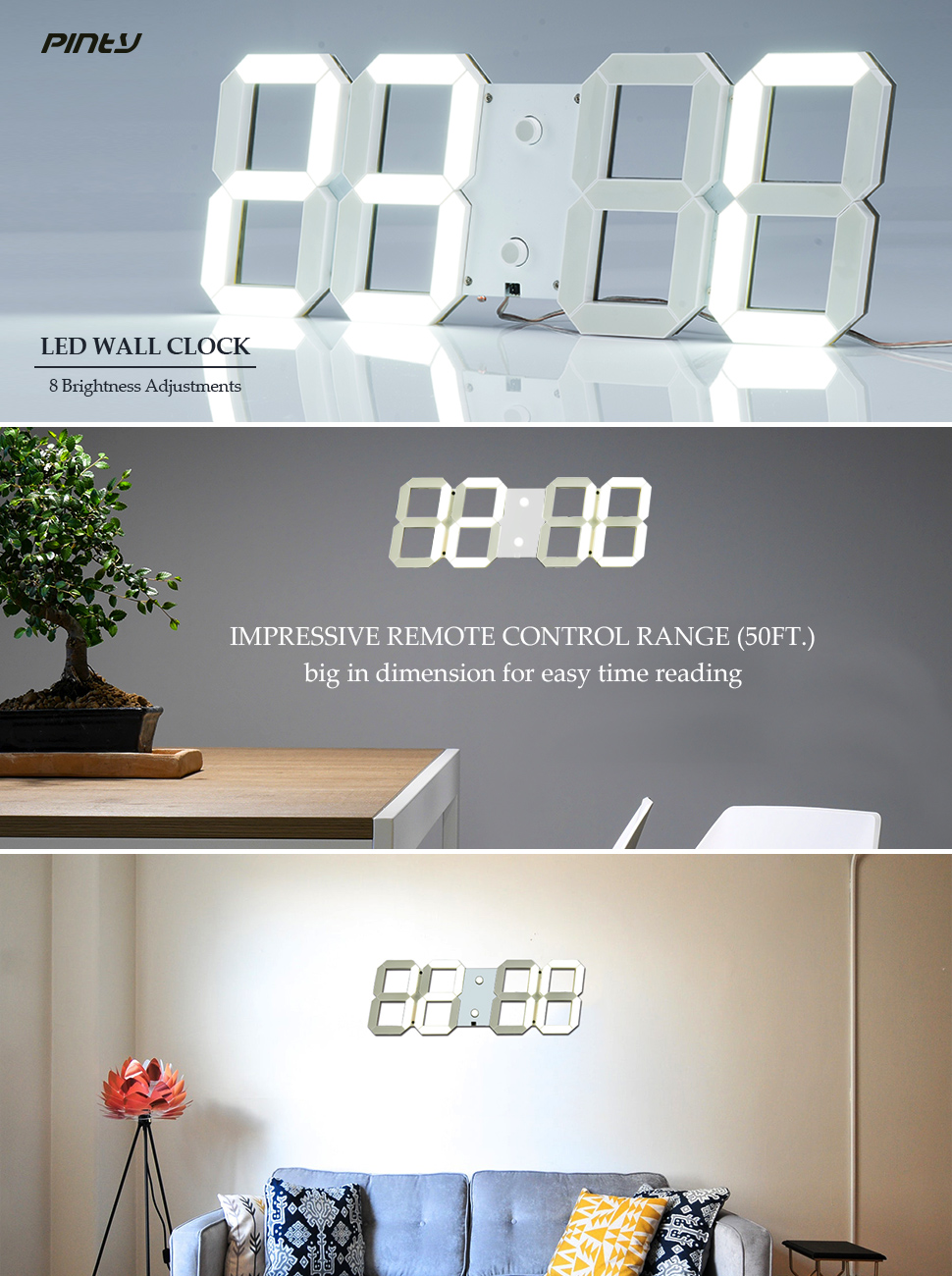 Amazon pinty upgraded multi purpose large led digital wall hunting for a simple but sophisticated wall clock with modern touch try our brand new led wall clock made of aluminum alloy this led wall clock is amipublicfo Images