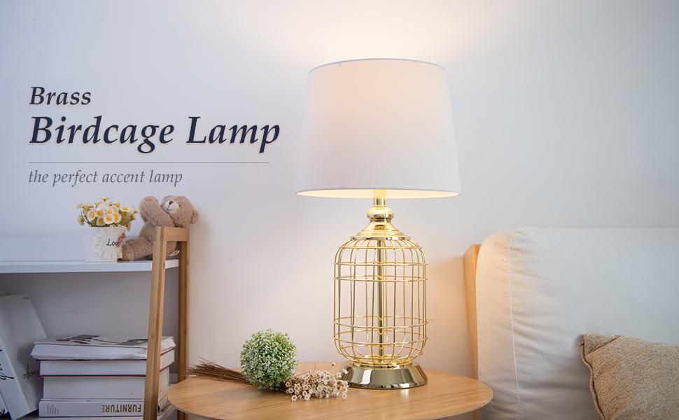 Co z elegant table lamps birdcage anti rust gold metal base white product description aloadofball Image collections