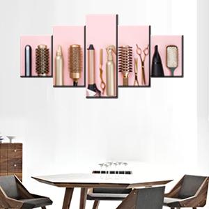 make up golden haircut black pink hairstyle brush canvas cutting artwork steel artwork equipment art