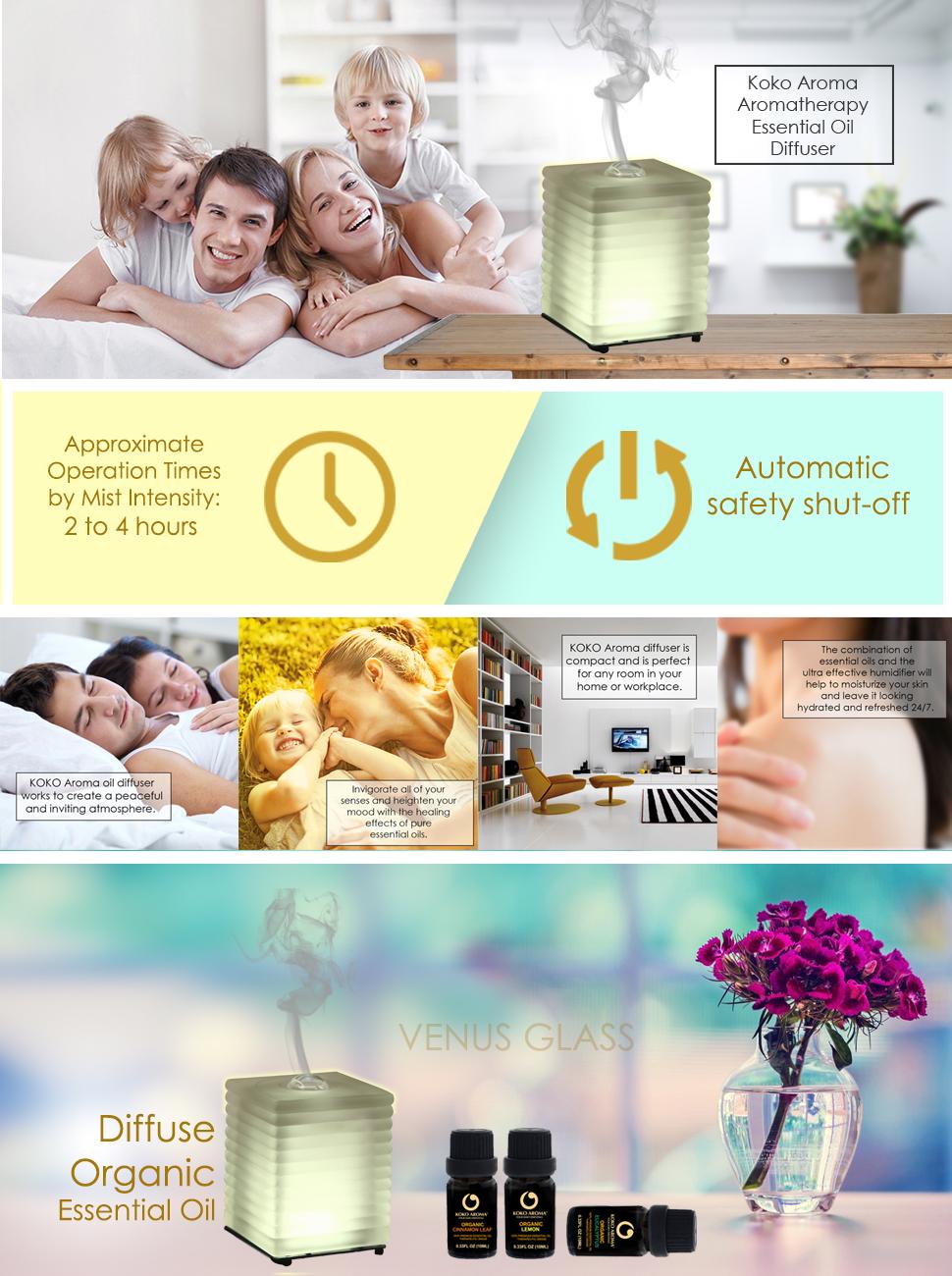 Amazon Com Koko Aroma Aromatherapy Essential Oil Diffuser On Sale Limited Time Venus Glass