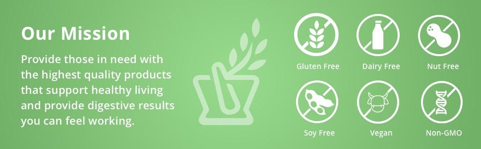 Gluten free, dairy free, nut free, soy free, vegan, non-gmo