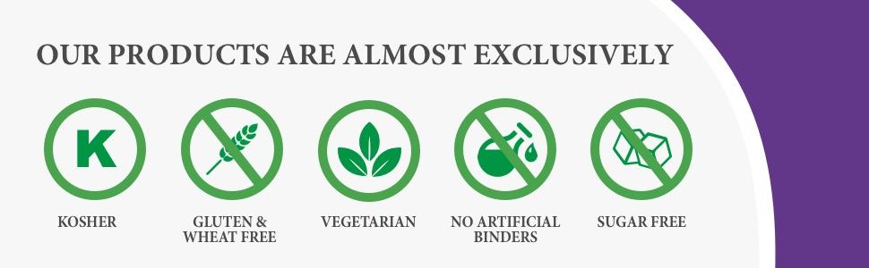 kosher gluten free wheat free vegetarian no artificial binders sugar free