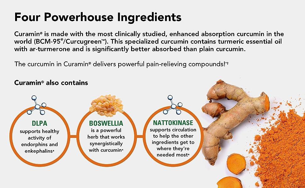 Curamin ingredients: DLPA, Boswellia, Nattokinase