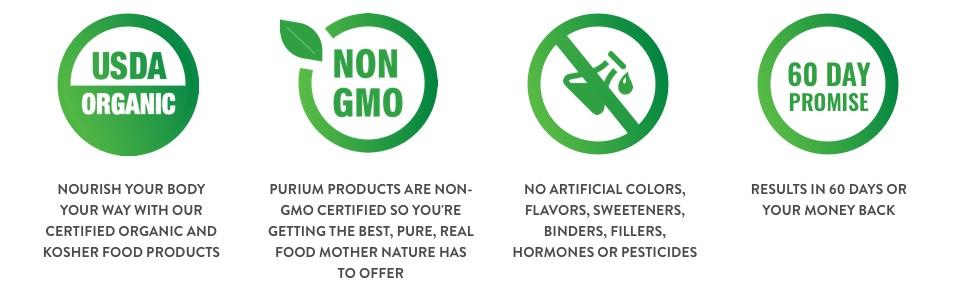 USDA organic, non GMO, no artificial colors