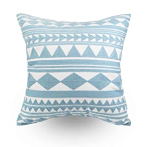 decorative embroidered throw pillow cover teal geometric design light blue diamonds triangle square